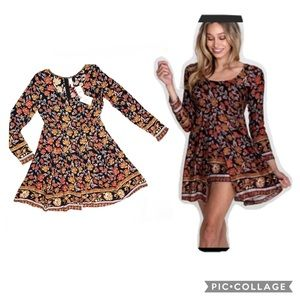 Anthro RagaNostalgicBliss Dark Floral Romper Dress